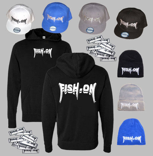 fish-on gear layout:  hats shirts stickers